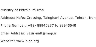 Ministry of Petroleum Iran Address Contact Number