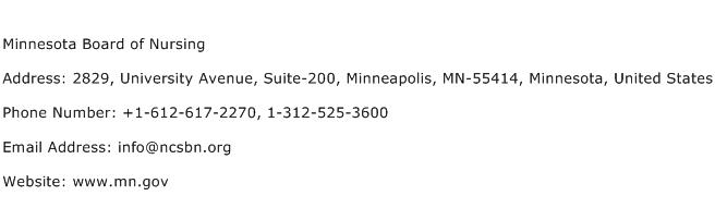 Minnesota Board of Nursing Address Contact Number