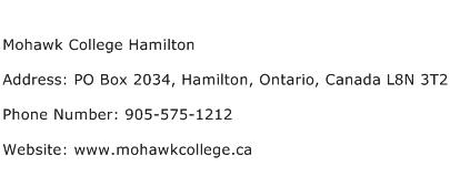Mohawk College Hamilton Address Contact Number