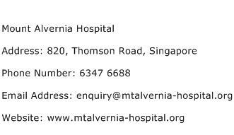 Mount Alvernia Hospital Address Contact Number