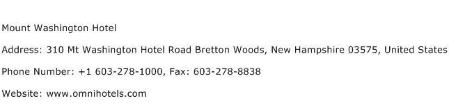 Mount Washington Hotel Address Contact Number