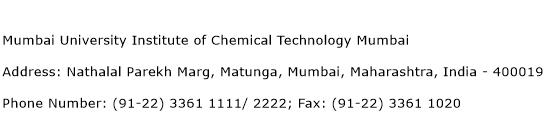 Mumbai University Institute of Chemical Technology Mumbai Address Contact Number