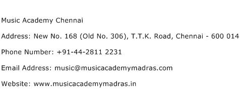 Music Academy Chennai Address Contact Number