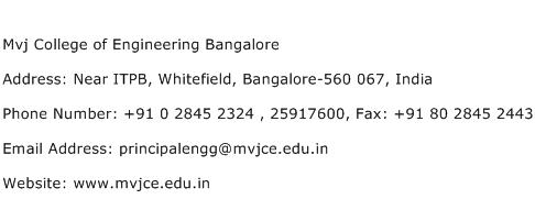 Mvj College of Engineering Bangalore Address Contact Number