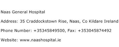 Naas General Hospital Address Contact Number