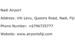 Nadi Airport Address Contact Number