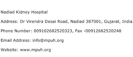 Nadiad Kidney Hospital Address Contact Number