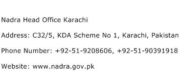 Nadra Head Office Karachi Address Contact Number