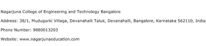Nagarjuna College of Engineering and Technology Bangalore Address Contact Number