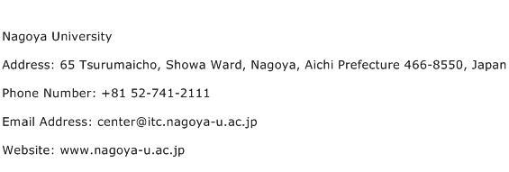 Nagoya University Address Contact Number