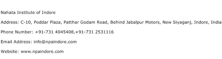 Nahata Institute of Indore Address Contact Number