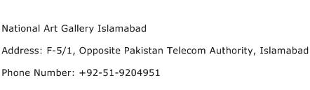 National Art Gallery Islamabad Address Contact Number