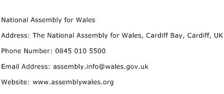 National Assembly for Wales Address Contact Number