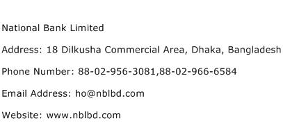 National Bank Limited Address Contact Number