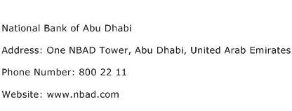 National Bank of Abu Dhabi Address Contact Number