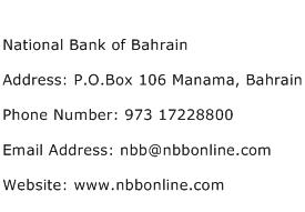National Bank of Bahrain Address Contact Number