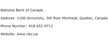 National Bank of Canada Address Contact Number