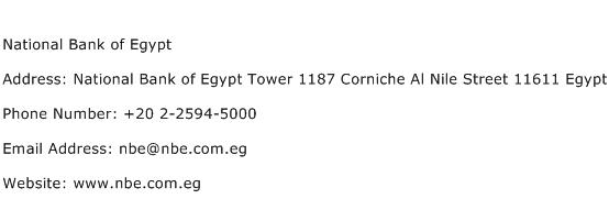 National Bank of Egypt Address Contact Number