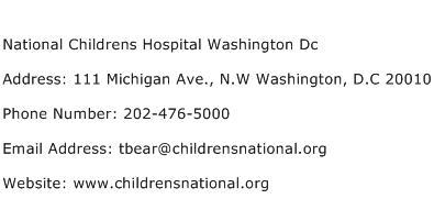 National Childrens Hospital Washington Dc Address Contact Number