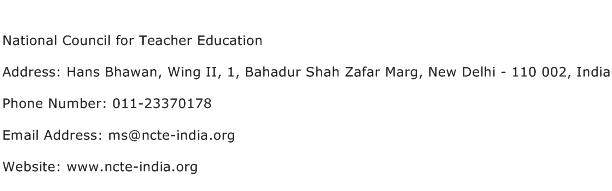 National Council for Teacher Education Address Contact Number
