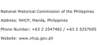 National Historical Commission of the Philippines Address Contact Number