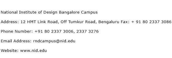 National Institute of Design Bangalore Campus Address Contact Number