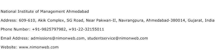 National Institute of Management Ahmedabad Address Contact Number