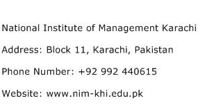 National Institute of Management Karachi Address Contact Number