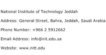 National Institute of Technology Jeddah Address Contact Number