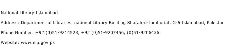 National Library Islamabad Address Contact Number