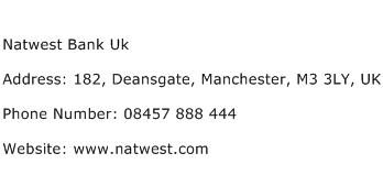 Natwest Bank Uk Address Contact Number
