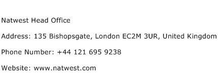 Natwest Head Office Address Contact Number