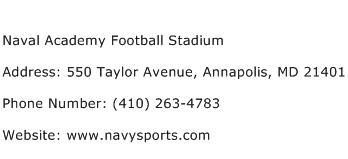 Naval Academy Football Stadium Address Contact Number