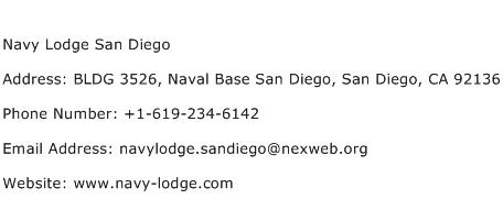 Navy Lodge San Diego Address Contact Number