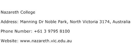 Nazareth College Address Contact Number