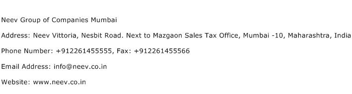 Neev Group of Companies Mumbai Address Contact Number