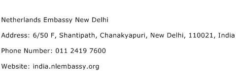 Netherlands Embassy New Delhi Address Contact Number