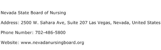 Nevada State Board of Nursing Address Contact Number