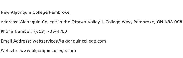New Algonquin College Pembroke Address Contact Number