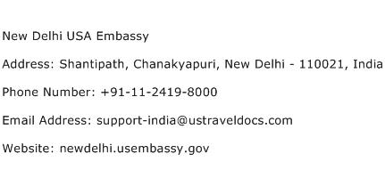New Delhi USA Embassy Address Contact Number