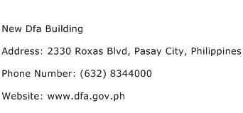 New Dfa Building Address Contact Number