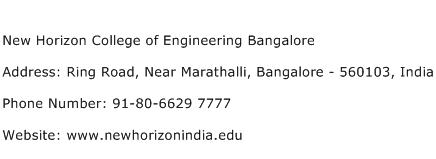 New Horizon College of Engineering Bangalore Address Contact Number