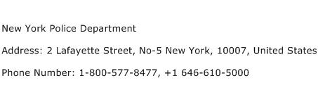 New York Police Department Address Contact Number