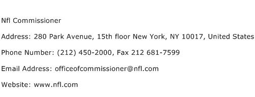 Nfl Commissioner Address Contact Number