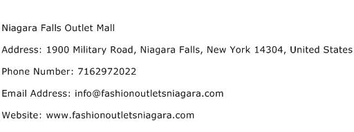Niagara Falls Outlet Mall Address Contact Number