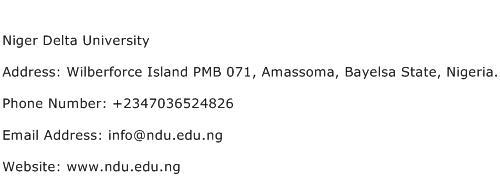 Niger Delta University Address Contact Number
