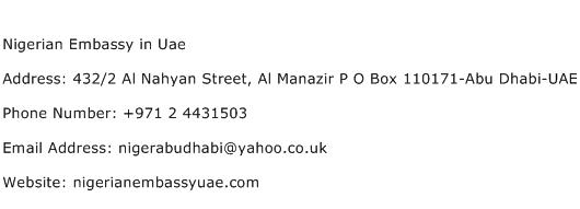 Nigerian Embassy in Uae Address Contact Number