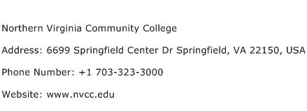 Northern Virginia Community College Address Contact Number
