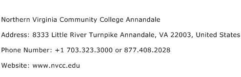 Northern Virginia Community College Annandale Address Contact Number