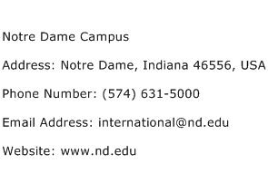 Notre Dame Campus Address Contact Number